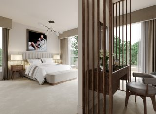 A bedroom design with feature pendant