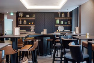 A bar with dark timber finishes